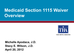 Medicaid Section 1115 Waiver Overview
