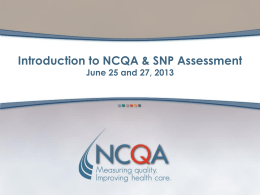 Introduction to SNP Assessment Training Slides