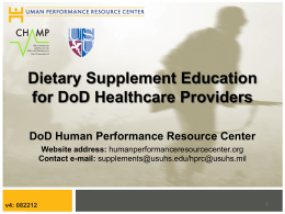 Dietary Supplements - Human Performance Resource Center