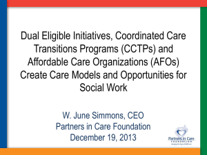 Care Models and Opportunities for Social Work, December 19, 2013