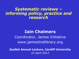 informing policy, practice and research - Sir Iain