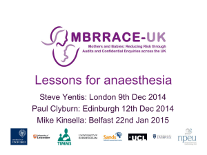 Lessons for Anaesthesia