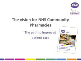 The vision for NHS Community Pharmacies
