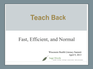 Teach Back: - UW Family Medicine