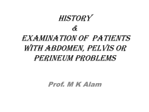 History taking and examination of patients with abdominal, groin or