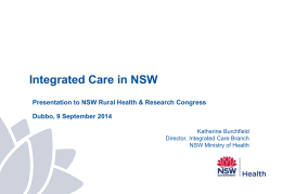 Katherine Burchfield - Integrated Care in NSW