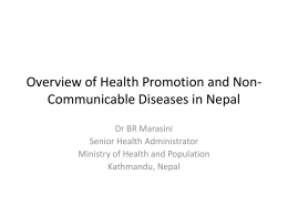 Health Promotion and NCD In Nepal