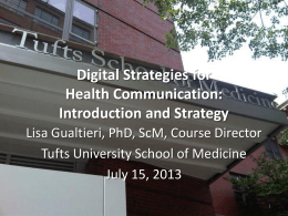 Slides - Digital Strategies for Health Communication