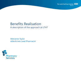 Benefits Realisation - ePrescribing Toolkit