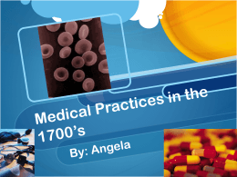 Medical Practice in the 1700*s