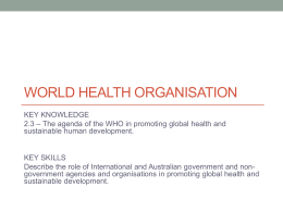 2.4 The agenda of the WHO in promoting global health and