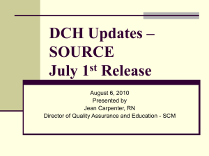 DCH Updates April 1, 2010