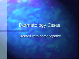 Dermatology - Faculty of Homeopathy