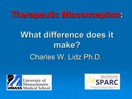 The Therapeutic Misconception and Consent in - CAREB