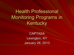 Health Professional Monitoring Programs
