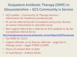 Community IV Therapy Service - Gloucestershire Hospitals NHS Trust
