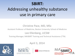 (MASBIRT) Program: Addressing substance use in primary care