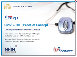 CMS` C-HIEP Proof-of Concept