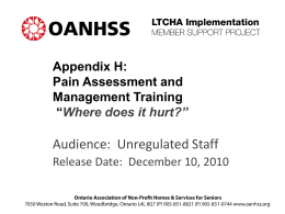 Appendix H: Pain Management Program Training Presentation