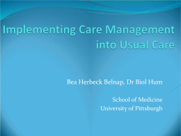 Implementing Care Management Functions
