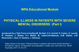 Physical Illness in Patients with Severe Mental Disorders (Part I)