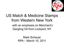 Match and Medicine Stamps of Western New York (PowerPoint