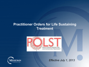 Who is the POLST for? - Meridian Physician Extranet