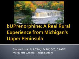 bUPrenorphine: A Real Rural Experience from Michigan`s - MI-PTE