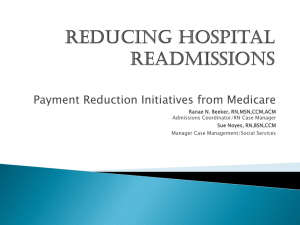 Presentation on Payment Reduction Initiatives from Medicare