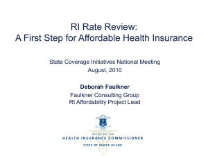 RI Rate Review - State Coverage Initiatives
