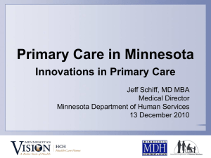 Primary Care in Minnesota - Alliance for Health Reform