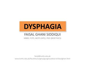 DYSPHAGIA - ent lectures