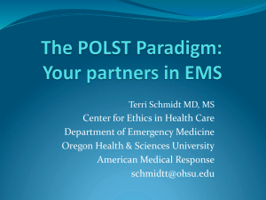 POLST: Respecting Patient Wishes Near the End of Life
