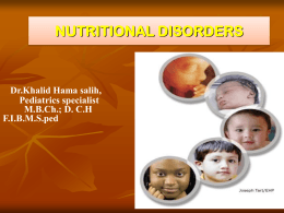 Nutritional Disorders – Dr. Khalid