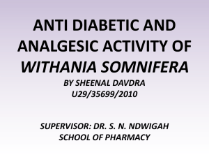 ANTI DIABETIC AND ANALGESIC ACTIVITY OF WITHANIA