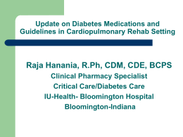 Diabetes For Rehab Final NC - Indiana Society of Cardiovascular
