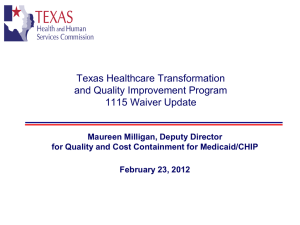 Briefing on Medicaid 1115 Waiver and Public Health Interactions