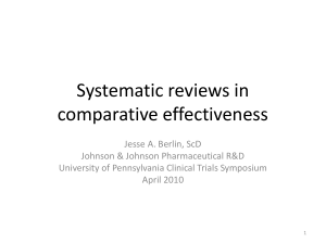 Systematic reviews in comparative effectiveness