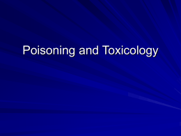 Poisoning and Toxicology