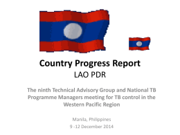 Country Progress Report - WHO Western Pacific Region