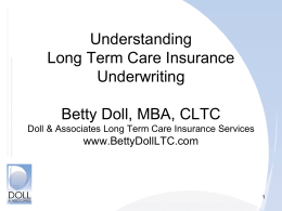 Long Term Care Insurance Underwriting