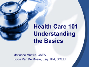 Health Care 101 Understanding the Basics - CPHCC