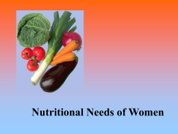 Nutritional Needs of Women - Breast Cancer Education Association