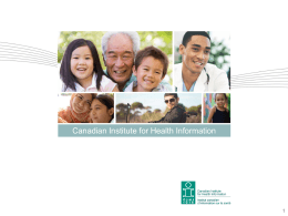 Health Care in Canada, 2011: A Focus on Seniors and Aging