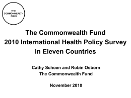 Chartpack -- The Commonwealth Fund 2010 International Health