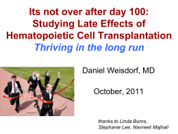 Dr. Weisdorf - American Society for Blood and Marrow Transplantation