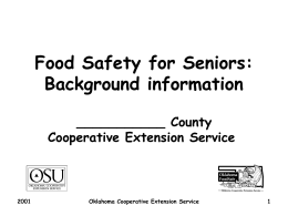 Food Safety for Seniors: Background information