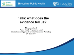 Evidence - Health and Wellbeing in Shropshire