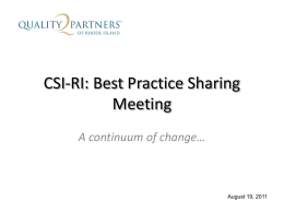 RI-CSI: Best Practice Sharing Conclusion