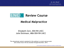 Sample PPT presentation - American Association of Legal Nurse